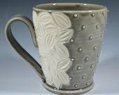 Wheel thrown porcelain mug in Classic Grey Dot pattern READY TO SHIP