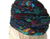 Turban Hat Paisley Womens Turban Tapestry Turban Hat Teal Blue Vintage Turbans Women's Hats Church Hats Fabric Hats For Spring