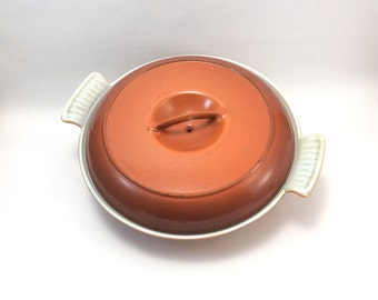 Vintage orange and red Dutch cast iron enameled oven pan