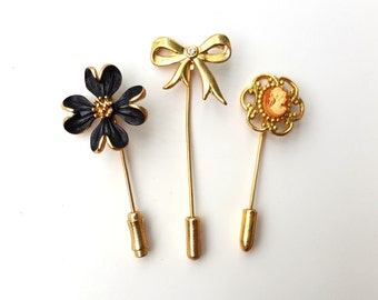 Beautiful Vintage Set of Three Short Stick Pins - Gold Tone Black Flower- Bow with Rhinestone - Cameo - Hat Hair Lapel Scarf Pin - Avon