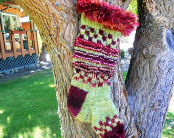 Burgundy Wine and Green Grapes Hand Knit Personalized Christmas Stockings, Mountain Man's Sock