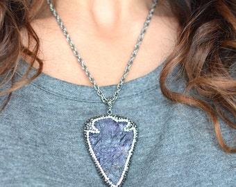 Amethyst Arrowhead Pave Crystal Necklace