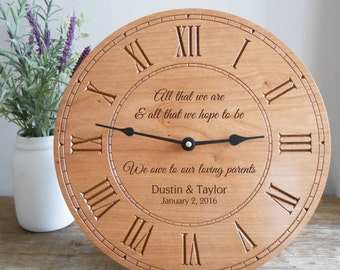 Personalized Clock for Parents of Bride & Groom: Wedding Thank You Gift for Parents, Parents Thank You Gift, Personalized Parents Gift