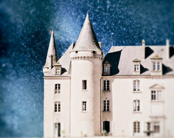 Fairytale Photography, Castle, Surreal, Night Sky, Starry Night, Enchanted, Nursery Decor, Photo, Blue and White, Magical, Large Wall Art