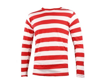 Men's Long Sleeve Red & White Striped Shirt