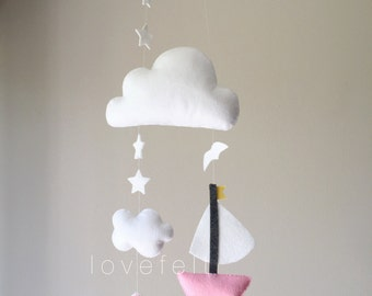 Baby mobile - Clouds Mobile - Baby mobile sailboat - nautical nursery