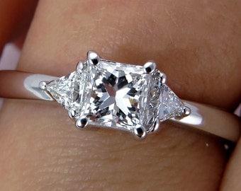 Reserved...Estate 0.64 Princess Cut 3 Stone Diamond ENGAGEMENT Wedding Annyversary Ring In White Gold