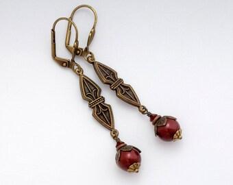 Red Swarovski Crystal Pearls, Red Art Deco Earrings, Art Deco Jewelry, Red Pearl Earrings Nickel Free, Art Deco Dangle Earring Drop, Candace