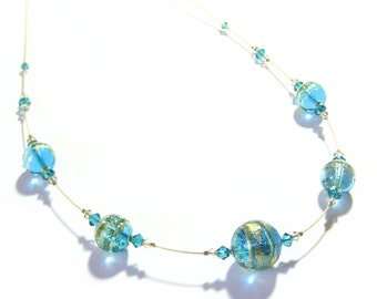 Murano Glass Aqua Gold Ball Necklace, Illusion Necklace, Venetian Glass Jewelry, Murano Glass Jewelry, Lampwork Glass Jewelry, Gold Filled