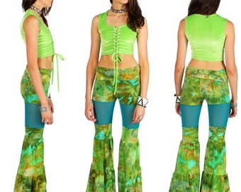 Green Blue Striped Yoga Flow Pants in Jungle Ice