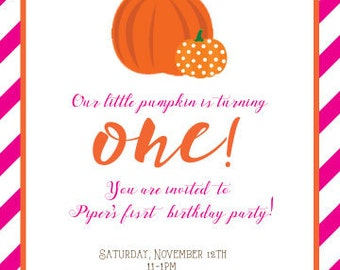 Pumpkin Birthday Invitation (PDF)