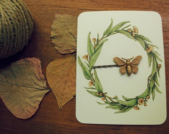 RESERVED Moth Vintage Style Hair Pin Copper Finish Brass Bobby Pin   LAST ONE   woodland wedding/ bridesmaid gift/ boho goddess hair clip