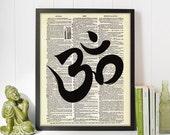 75% OFF SALE Printable OM Aum -  Vintage Dictionary Book Page Art Print - Instant Download - Yoga India Zen Symbol Poster Illustration 8x10