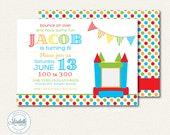 CUSTOMIZABLE INVITATION - Colorful Bouncy House (Inflatables) Invitaiton - Mirabelle Creations
