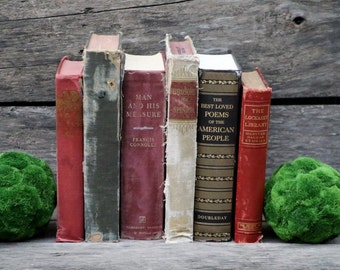 Set of 6 Vintage Books - Antique Book Decor - Photo Props - Wedding Decor - Centerpieces - Beige, Gold Books, Red, Maroon, Crimson - Old Set