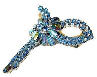 "Rhinestone Brooch Pin Blue Aurora Borealis High Fashion Silver Metal 2.5"" Vintage"