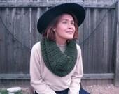 Soft Dark Green Crocheted Infinity Scarf