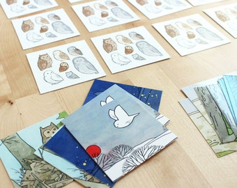Owls Memory Game, illustrated match pairs game