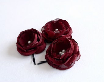 Wedding Hair Accessories, Bridal Flower Hair Clips, Small Bridal Flowers, Rose Hair Clips, Burgundy, Deep Red, Marsala, Pearls, Bridesmaids