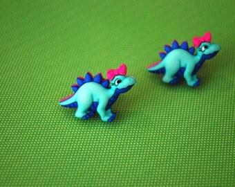 Dinosaur Earrings -- Dinosaur Studs, Stegosaurus, Dinos