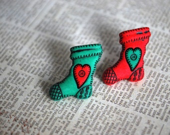 Stocking Earrings -- Christmas Stocking Studs, Stocking Studs, Christmas Earrings, Stocking Stuffer Earrings