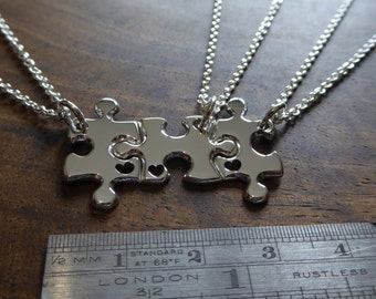 Three Miniature Puzzle Heart Pieces with Hearts, Best Friends Necklace Pendants