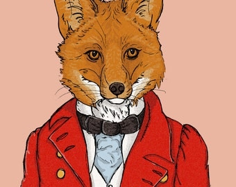 Fox Print Victorian Print Animals In Clothes Print Fox Hunter Print Cute Print