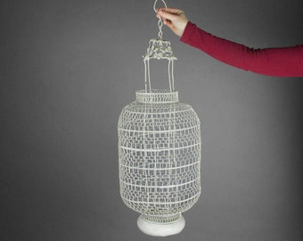 Large Chinese Lantern / Vintage Lantern / Boho Lighting / White Lantern / Wedding Lantern / Moroccan Light Style / Hanging Lamp Light