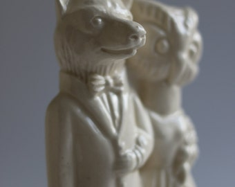 Wolf and Owl handmade ceramic Wedding Cake Topper