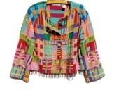 Colorful  RAINBOW Knit & Beads Crochet Buttons Cardigan Sweater