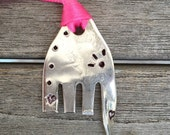 ELEPHANT Ornament stamped with Hearts EYELASHES and dots Pink Ribbon