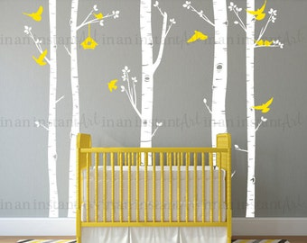 Birch Tree Wall Decal with Birds and Birdhouse, Birch Tree Decal with Birdhouse and Doves for Nursery, Kids or Childrens Room 055