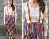 rainbow & eyelet prairie dress 1960s