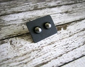 Glass Hematite Stud Earrings : Reflective Silver Posts