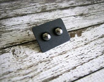 Glass Hematite Stud Earrings : Reflective Silver Posts
