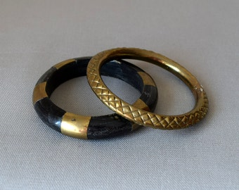 Vintage Brass Black Wood Bangle Bracelet Set Duo - Ethnic Bohemian Vintage Bracelets