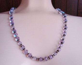 Amethyst Crystal Glass Bead Necklace / Amethyst to Light Blue Crystal / Vintage Jewelry / Jewellery