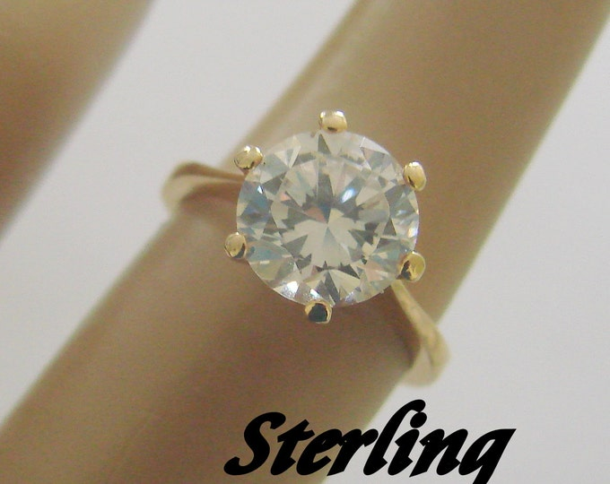 Vintage Sterling Vermeil Cubic Zirconia Ring / Solitaire CZ / Size 4.75 /Jewelry / Jewellery