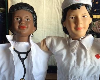 Vintage Doctor/Nurse Hand Puppets