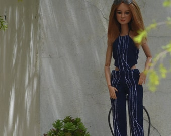 Lola Printed Jumpsuit in Midnight Blue and White for 11.5-inch Fashion Dolls like Made to Move Barbie and Poppy Parker