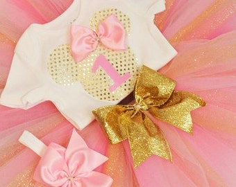 Pink and gold Minnie Mouse first birthday outfit, minnie birthday outfit, pink Minnie Mouse birthday, pink and gold Minnie Mouse birthday