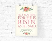 He is risen printable | Easter Printable | Easter Typography Poster | Bible Quote Printable | Instant download | Easter Holiday Art Print