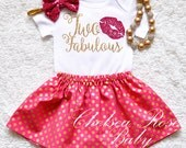 4 PIECE SET 2nd Birthday Outfit, Two fabulous, 2nd Birthday, Girls Birthday set, Gold Birthday, Pink gold birthday shirt