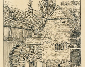Cobham, Original Pen and Ink Drawing of The Old Mill at Cobham, Surrey, 1930's Signed Pen and Ink on Board.