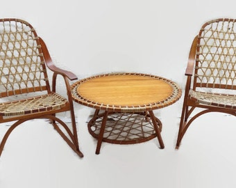 SnoCraft Snowshoe Chairs and Table  Vintage Rocking Cabin Lodge Decor