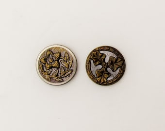 Antique metal buttons with floral designs, lot of 2 Victorian buttons, late 1800's ornate buttons