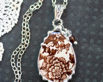 Necklace, Broken China Jewelry, Broken China Necklace, Brown Transferware, Sterling Silver, Soldered Jewelry