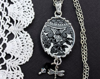 Necklace, Broken China Jewelry, Broken China Necklace, Black Transferware, Soldered Jewelry, Sterling Silver, Dragonfly Charm