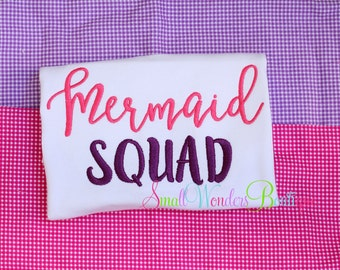 Mermaid Squad Shirt  - Mermaid Embroidered Shirt - Summer Shirt -  Mermaid Shirt - Girls Mermaid - Girls Summer Shirt - Mermaid -Birthday