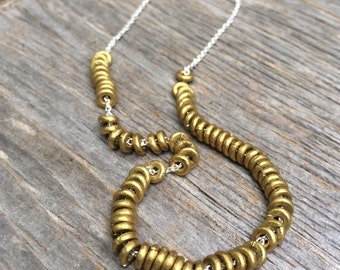 Simplicity Brass Washers sterling necklace